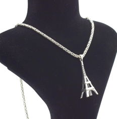 925 Italian sterling silver chain with Eiffel tower pendant - 62 cm
