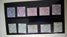 Great Britain 1883/84 - 1/2d to 1/- Lilac and Green set of 10