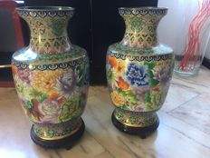 "Pair of Chinese cloisonné vases, 15"" - China - late 20th century"