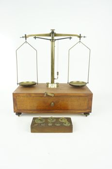 An old pharmacist's scales with set of old weights