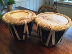 Antique South African Tribal Bongo Drums - Made with Real Animal Skin & Fur (including bands)