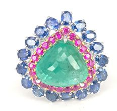 Emerald (10.65 carats), Ruby (1.01 carats) and Sapphire (3.74 carats) Ring in 18 kt White and Yellow Gold- FREE SHIPPING