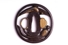 Iron sukashi tsuba, NBTHK Hozon Origami, Gold inlay, Kyo - Shoami School - Japan - 19th century (Edo period)