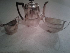 3 pieces silver plated service coffee/milk/sugar bowl SHEFFIELD, EPBM / EPNS