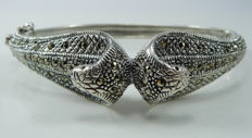 Cobra bangle inlaid with Marcasite - 925 Sterling silver