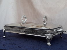 Silver plated double chafing dish.