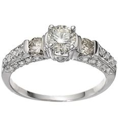 14K white  Gold Ring with created moissanites - US size 7