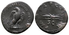 Roman Empire - HADRIAN (117-138 AD), Æ Quadrans (Eagle and winged thunderbolt) - 19mm; 2.91g; 6h / RIC 625