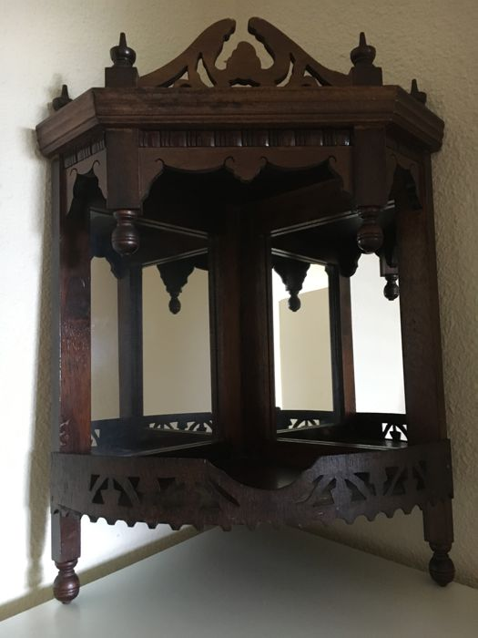 Hanging Corner Cabinet With Two Mirrors (altar Cabinet), First Half 20th  Century