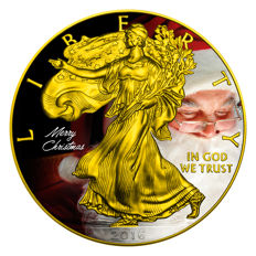 United States - Dollar 2016 'Silver Eagle / Christmas Special' gilded and colour - silver