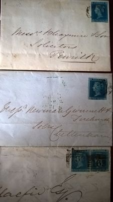 Great Britain 1841 - 2d blue used on 3 covers and 1d red imperf used on 7 covers