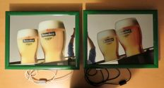 2 original Heineken light boxes with mirror Panel from 1994