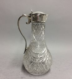 Cut crystal decanter for red wine with silver plated mounting, so-called. claret jug, England, ca. 1945