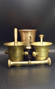 Three  Bronze Mortar & Pestle, 19th century