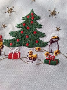 Beautiful Christmas hand embroidered tablecloth