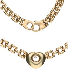 14 kt Yellow gold necklace with a pendant in the shape of a heart, set with diamond - Length: 42 cm