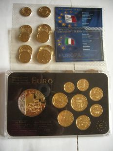"Saint Marin - Coin set euro  ""gold plated and rhodium""    + set euro malte,italie  gold plated"