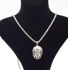 925 Italian sterling silver chain with Pendant - 62 cm