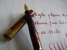 Superb French Woodgrain Mottle Ripple Fountain Pen with Very Very Flexible Fine Sized Nib 18K gold nib