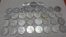Republic of Italy - 500 and 1000 Lire (35 coins) - silver