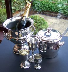 Silver Plated English 20th Century Champagne Bucket, Ice Bucket & 3 x Goblets