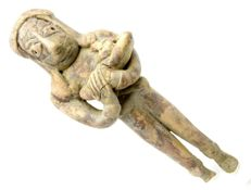 Indus Valley Terracotta Standing Male Idol  / Figurine with Baby - 113 mm
