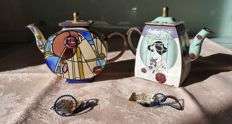 Lot of two miniature teapots hand painted and enamelled by hand with motifs rt Deco and numbered