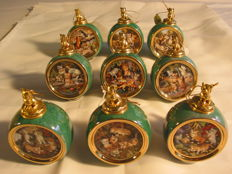 Porcelain baubles with cat motifs for Christmas tree, etc. 9 pieces