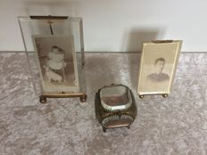 Two brass photo frames and brass jewellery box, France, circa 1900