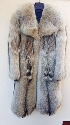 Jacket in coyote fur and leather (VINTAGE) NO MINIMUM PRICE