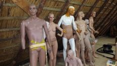 Ten different mannequins - life-size - 2nd half 20th century - including a box with loose limbs