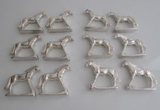 lot of 12 antique knife holders silver metal in the form of horses