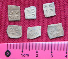 Jewish antique lead seal prutah token Poland judaica Lot of 6