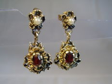 Antique silver earrings with garnet roses and partial gold-plating
