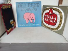 Beer advertising signs delirium tremens stella artois. 1995 2000