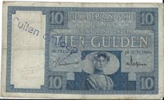 "Netherlands - 10 guilders 1924 ""Zeeland Girl"" stamp outside circulation"