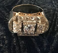 Art Deco Tank ring 750 wit goud en diamanten, circa 1930