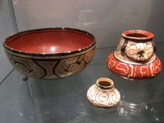 Lot of 3 very beautiful potteries in polychromed terracotta - CHIPIVO - Brazil