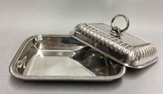 A Silver plated double serving tray with removable knob, England, ca. 1920