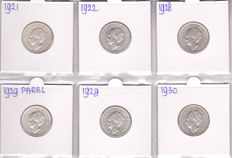 Netherlands - ½ gulden 1921/1930 Wilhelmina (6 different, complete with 1929 variant Pearl under G) - silver