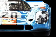 Porsche 917 Gulf 1970 Race Car - 2 Art Prints Posters - Hand signed by Artist Andrea Del Pesco + COA.