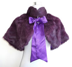 Very pretty purple fur stole wrap shawl with ribbon rabbit fur lapin scarf