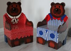 Two unique bear chairs