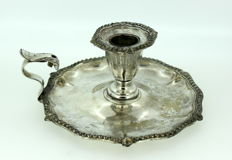 Antique Victorian Silver Plate Chamberstick, England C.1880