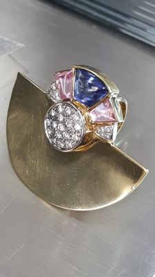 Ring in 18 kt gold with Italian design, diamonds totalling 0.56 ct and polychrome glass