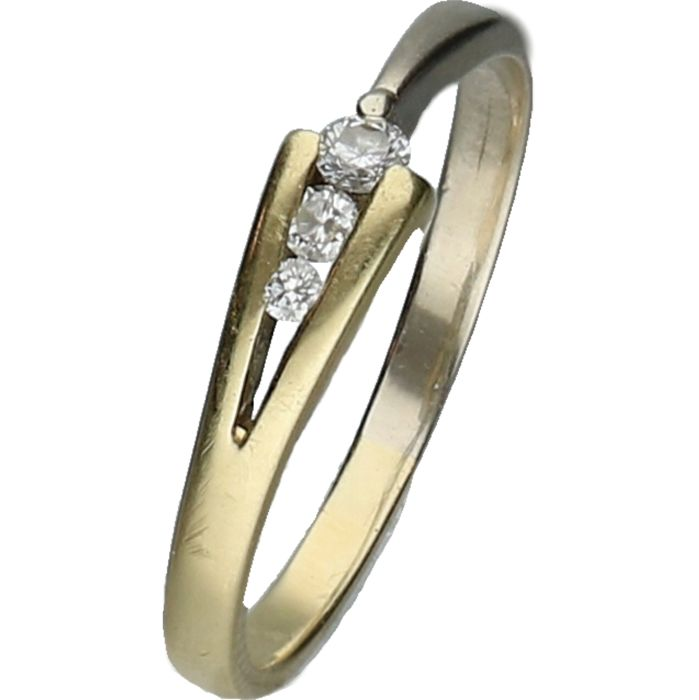14 kt Bi-colour, yellow and white gold ring set with 3 brilliant cut diamonds, approx 0.06 ct in total.