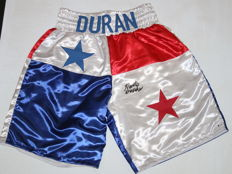 Roberto Duran Signed Boxing Trunks XL AUTO Beckett BAS Witnessed COA Autographed Boxing Shorts HOF USA Hand signed by Legend. No Reserve Price!