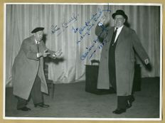 Stan Laurel & Oliver Hardy - Signed original photo in 1947 in Brussels