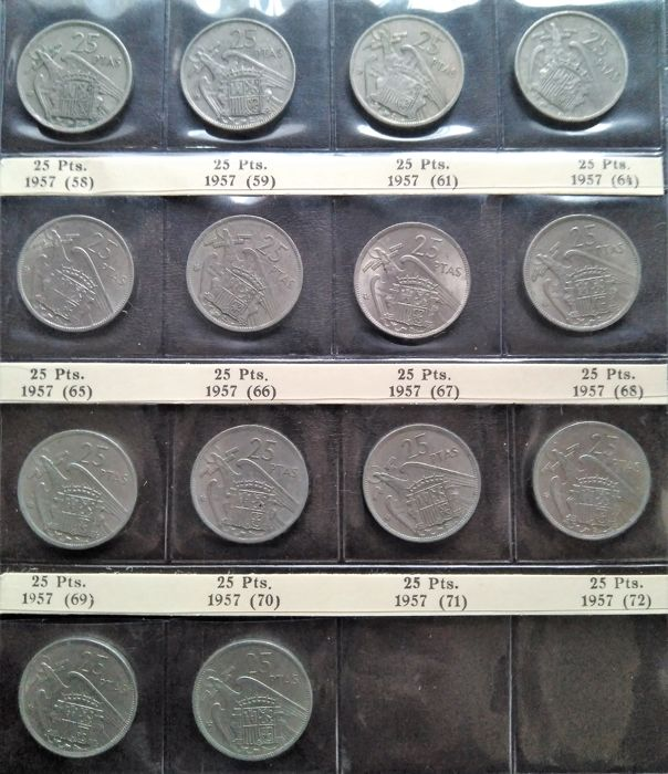 Spain - 38 pieces - Complete series without proofs, 5, 25 and 50 pesetas 1957 - 25 Pesetas 1957 BA/