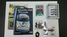 Set fo postcards and Porsche Club Magazine with collectable oil can and original Porsche keyring